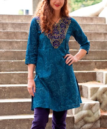 Blue Floral Embroidered Jenn Tunic - Plus