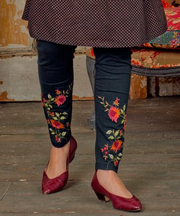 Black Floral Embroidered Tapestry Leggings - Plus