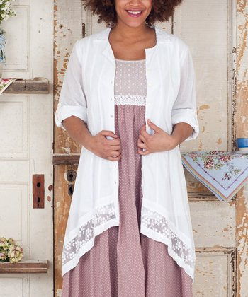 White Floral & Lace Nightgown - Plus