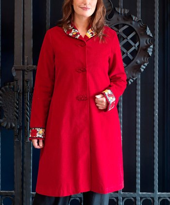 Red Floral-Trim England Swing Coat - Plus