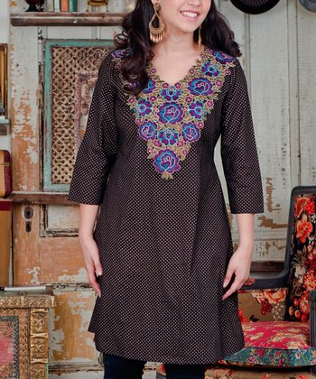Black Floral Embroidered Starry Tunic - Plus