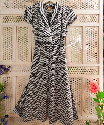 Black & White Polka Dot Circle Shirt Dress - Plus