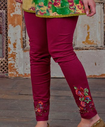 Maroon Floral Embroidered Tapestry Leggings - Plus