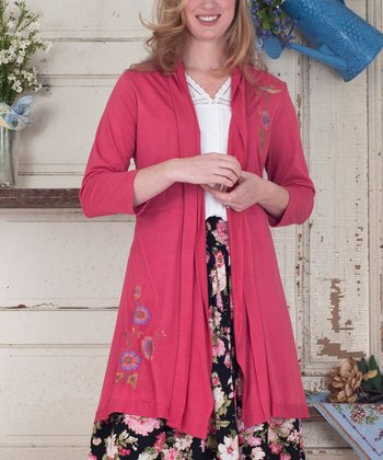 Coral Floral Embroidered Tasha Duster - Plus