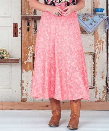 Pink Floral Cora Peasant Skirt - Plus
