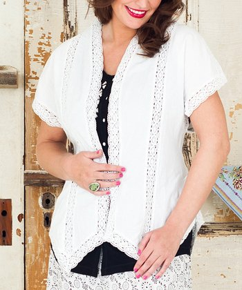 White Ruffles Snow Short-Sleeve Blazer - Plus