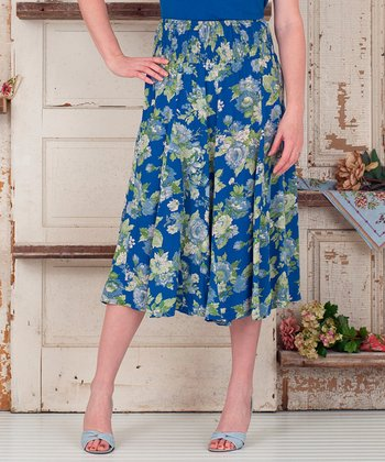 Blue Floral Becca Maxi Skirt - Plus