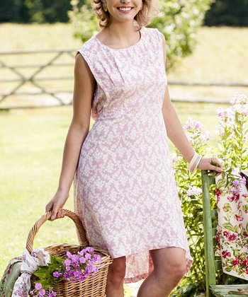 Pink Damask Camalin Sheath Dress - Plus