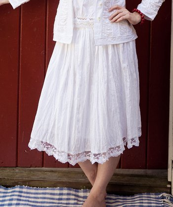 White Smocked Angel Skirt - Plus