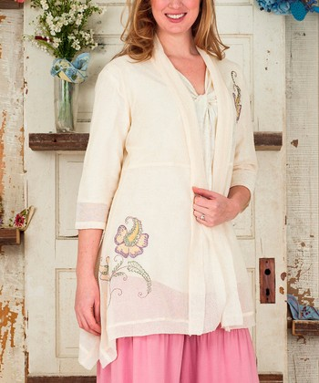 Ecru Floral Embroidered Renee Open Cardigan - Plus