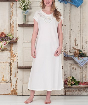 Ecru Floral Smocked Hummingbird Nightgown - Plus
