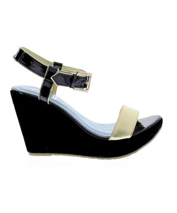 Black & Gold Capri 8 Wedge