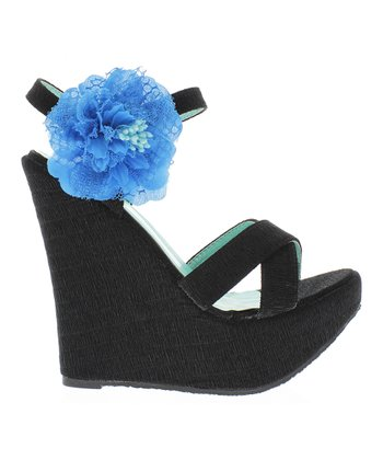 Black Morena 11 Wedge Sandal
