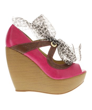 Fuchsia Gray Rio 1 Peep-Toe Wedge