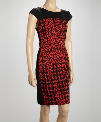 Voir Voir Black & Red Leopard Cap-Sleeve Dress