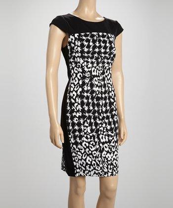 Voir Voir Black & White Leopard Cap-Sleeve Dress
