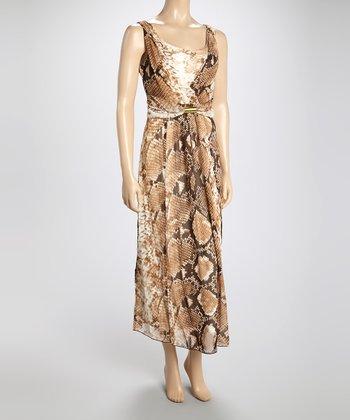 Voir Voir Gold Snakeskin Sleeveless Surplice Dress