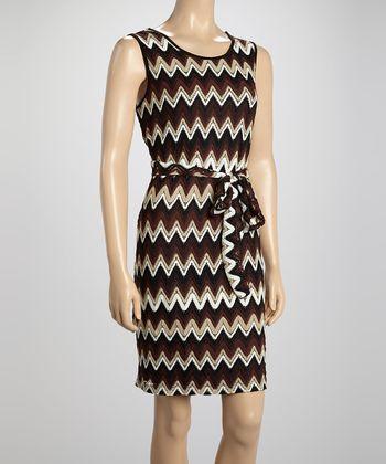 Voir Voir Brown Zigzag Crochet Sleeveless Dress