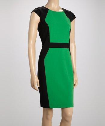 Voir Voir Green Color Block Sheath Dress