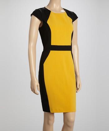 Voir Voir Dark Yellow Color Block Sheath Dress