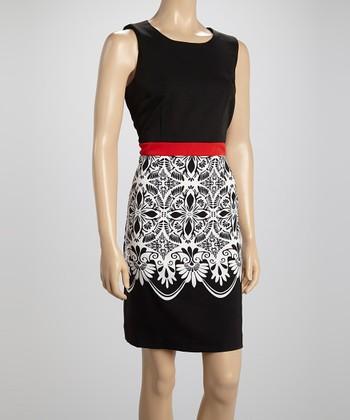 Voir Voir Red & Black Arabesque Sheath Dress