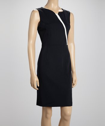 Voir Voir Navy & Cream Pleat Sheath Dress