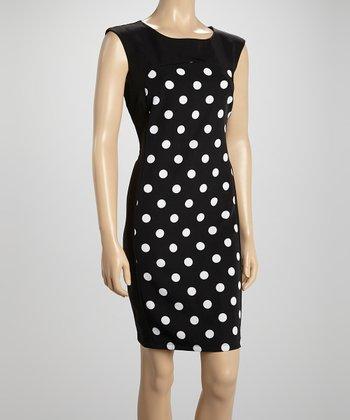 Voir Voir Black & White Polka Dot Sheath Dress