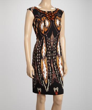 Voir Voir Black & Gold Tribal Embellished Sheath Dress