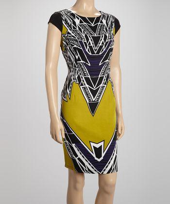 Voir Voir Yellow Tribal Cap-Sleeve Dress