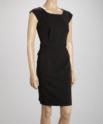 Voir Voir Black & White Pin Dot Pleat Sheath Dress