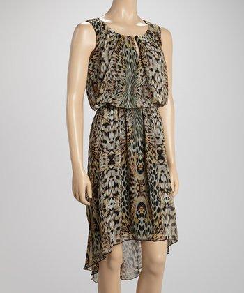 Voir Voir Brown Animal Blouson Hi-Low Dress