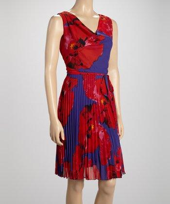 Voir Voir Red Floral Pleated Drape Dress