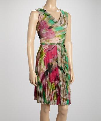 Voir Voir Pink & Green Floral Pleated Drape Dress
