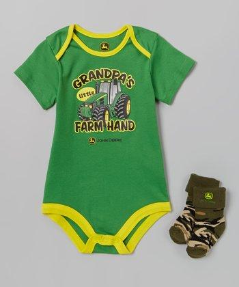 John Deere Green & Yellow 'Grandpa's Farm Hand' Bodysuit & Socks - Infant