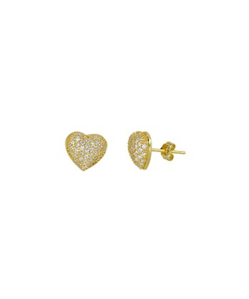 Gold & Cubic Zirconia Heart Stud Earrings