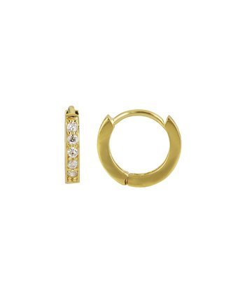 Gold & Cubic Zirconia Studded Single Row Huggie Earrings