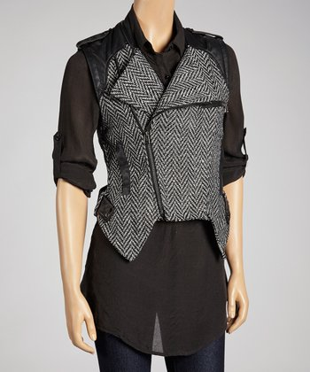 Black & White Chevron Faux Leather Zip-Up Vest