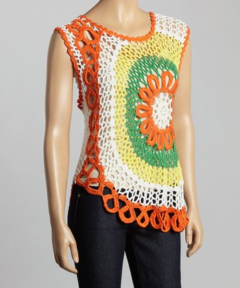 Orange & Green Crocheted Top