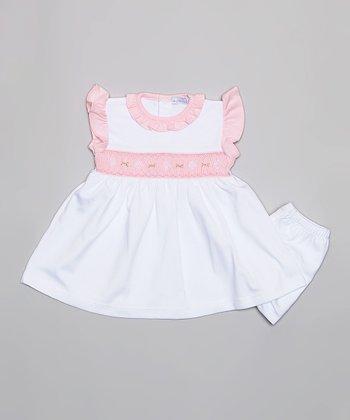 Light Pink & White Dress & Diaper Cover - Infant