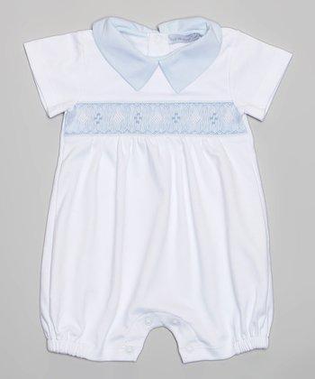 Light Blue & White Romper - Infant