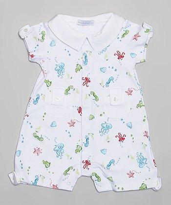 White & Blue Sea Life Romper - Infant