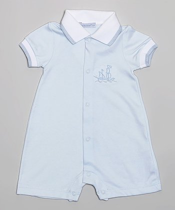 Blue & White Nautical Romper - Infant