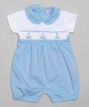 Blue & White Sailboat Romper - Infant