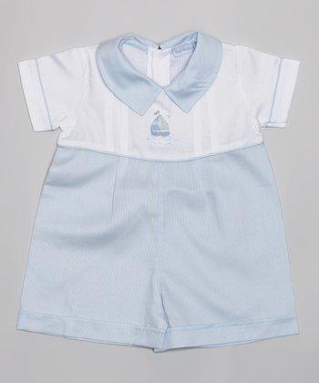 Light Blue & White Piqué Sailboat Romper - Infant
