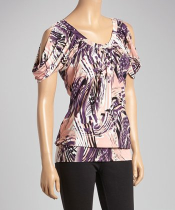 Purple & Pink Abstract Cutout Top