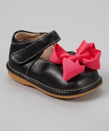 Laniecakes Black & Hot Pink Bow Squeaker Mary Jane