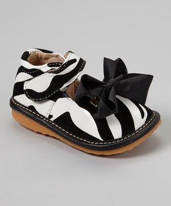 Laniecakes Black & White Zebra Bow Squeaker Mary Jane