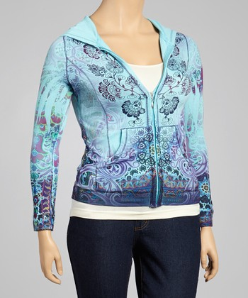 River Delta Blue Pearl Zip-Up Hoodie