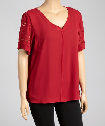 Red Eyelet Top - Plus
