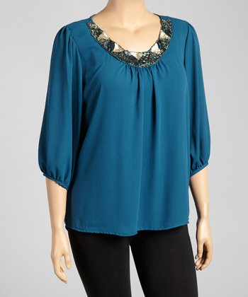 Blue Embellished Top - Plus
